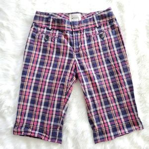 ANTHROPOLOGIE ELEVENSES PLAID BERMUDA SHORTS